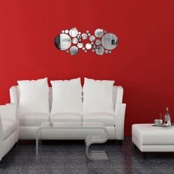 Silver Polka Dot Mirror Wall Stickers Set