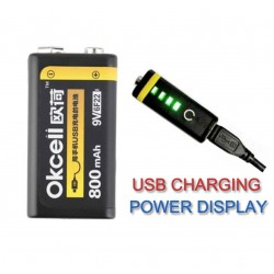 OKcell USB Lithium rechargeable battery - 9V - 800 mAh