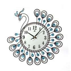 Antique style -diamond peacock -large wall clock