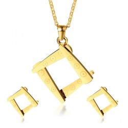 Irregular Square Shape Necklace & Earrings Jewellery Set