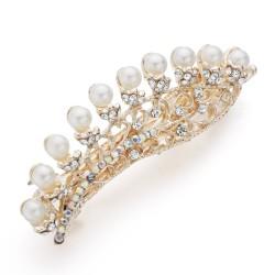 Flower & pearls - crystal hair clip - hairpin