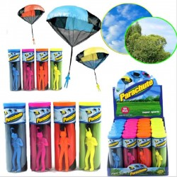 Hand throwing parachute with mini soldier - toy kite