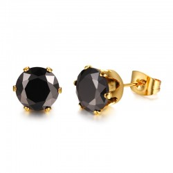Black Zirconia Stud Earrings
