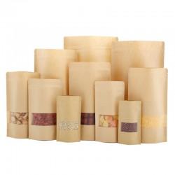 Brown kraft paper zip lock bags with clear window 50pcs
