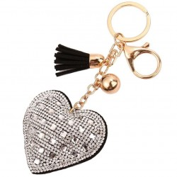 Rhinestone heart tassel keychain keyring