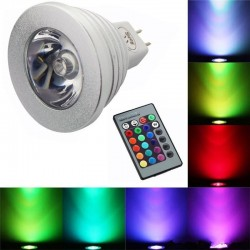 E14 - E27 RGB LED 3W color changeable lamp bulb with remote control