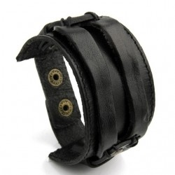 Leather cuff double wide rope bracelet unisex