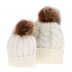 Mom & baby fur tassel hat cotton 2 pcs