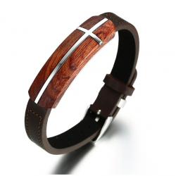 Retro rosewood genuine leather bracelet
