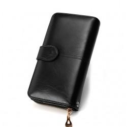 Leather long wallet purse