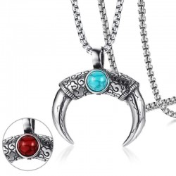 Red & blue turquoise double sided pendant necklace