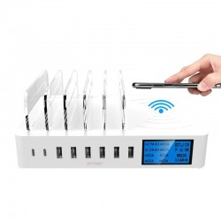 8 Port USB charger with wireless charging - Type-C - LED display and stand