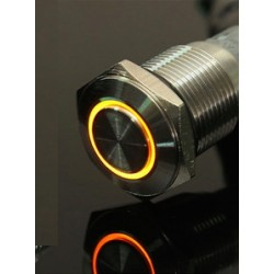 24V - 16mm LED ring stainless steel car switch self-lock