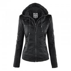 Warm leather jacket with removable hood