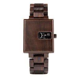 Quartz square wooden watch