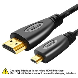 Gold plated 3D 1080P HDMI to micro HDMI - D-type male to HDMI male - cable