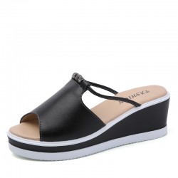 Comfortable leather slip-on wedge sandals