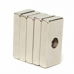 N35 strong neodymium cuboid magnet 20 * 10 * 4mm with 4mm hole 5 pcs