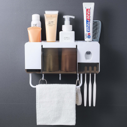 Toothbrush holder & toothpaste squeezer dispenser - set