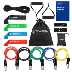Yoga & fitness resistance bands - 17 pieces set with bag