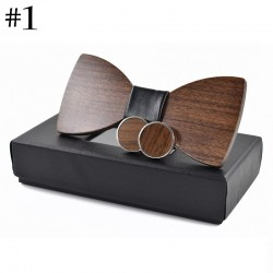 Fashionable wooden bow tie & cufflinks - set