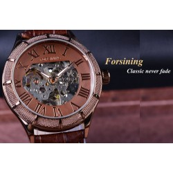 Forsining - transparent mechanical watch - with leather band - automatic