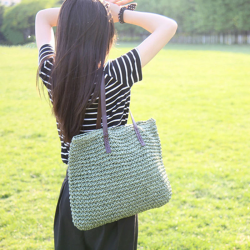 Large beach bag made from straw