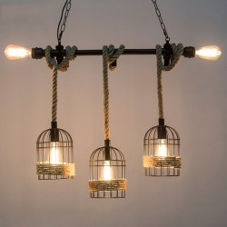 Retro iron hanging lamp with hand knitted rope - lights in cage
