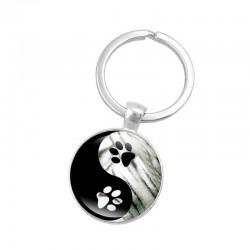 Yin Yang - glass round keychain