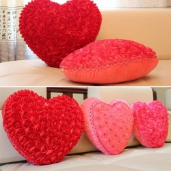 Heart shape pillow with roses