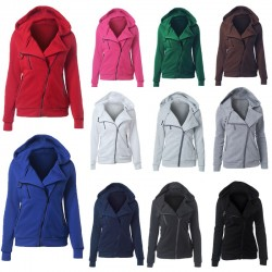Warm hooded jacket with zipper