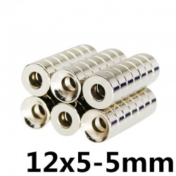 N35 neodymium magnet - super strong round ring 12 * 5 * 5mm 5 pieces