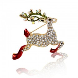 Crystal reindeer - Christmas brooch