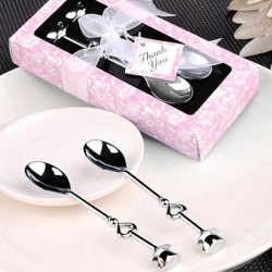 Stainless steel teaspoons with heart - 2 pieces