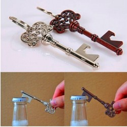 Key shaped bottle opener with keyring