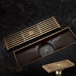 Antique brass - bathroom floor drain - wire strainer
