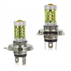 80W - H1 H3 H4 H7 H8 9005 9004 / 4300K LED 2835 - 12V bulb - yellow fog lights - head lights - 2 pieces