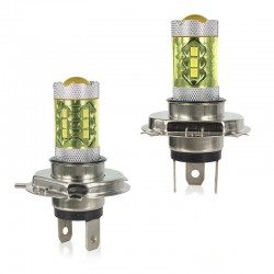 80W - H1 H3 H4 H7 H8 9005 9004 / 4300K LED 2835 - 12V bulb - yellow fog lights - head lights - 2 pieces