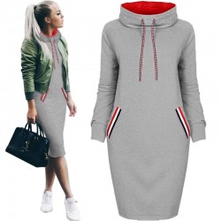 Elegant knee length winter hoodie sweater - dress