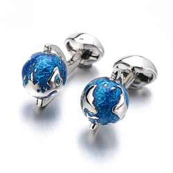 Fashion cufflinks with blue rotatable globe