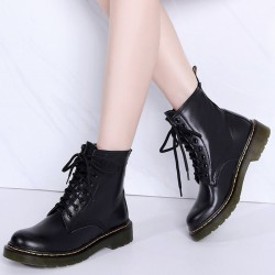 Genuine leather winter boots with warm plush