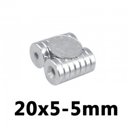 N35 neodymium countersunk ring - magnet 20 * 5 - 5mm - 5 pieces