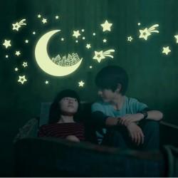 Stars & moon & galaxy - glow fluorescent stickers