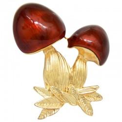 Red enamel - mushroom - brooch