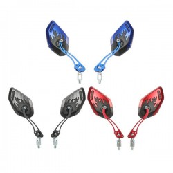 Motorcycle - scooter rearview mirror with flame design 8mm - 10mm