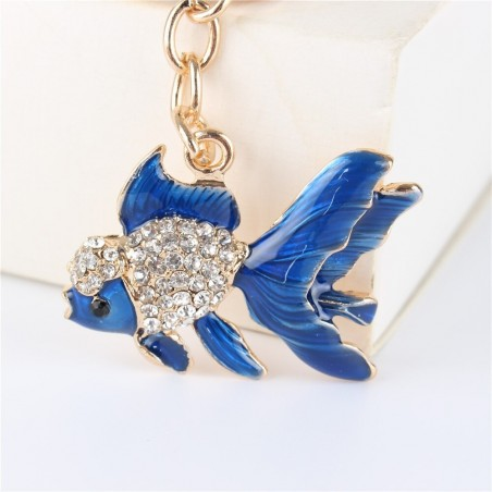Crystal with gold fish - keychain