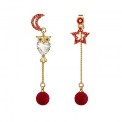 Crystal owl - star & moon - long earrings with balls