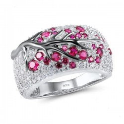 Rose flowers - luxury silver ring with cubic zirconia