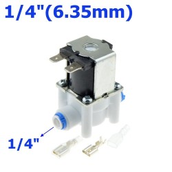 """Plastic solenoid valve - 1/4""""-3/8"""" hose pipe - quick connection RO water reverse osmosis system"""