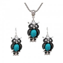 Necklace & earrings with owl - retro jewellery set